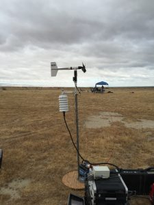Wind and weather data collection devices at Meadows Field Airport during 206B main rotor blade acoustics testing.