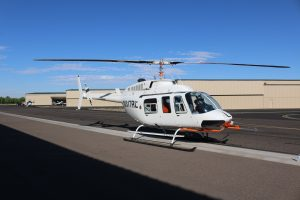 Front quartering view of 206L LongRanger with VHA main rotor blades installed.
